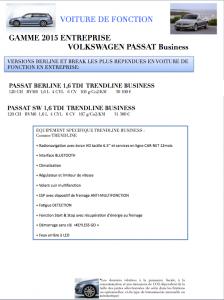 Nouvelle Volkswagen Passat Berline et SW 2015 Trendline Business