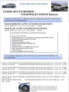 Nouvelle Volkswagen Passat Berline et SW 2015 Confortline Business
