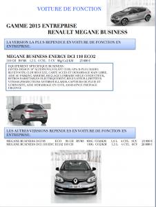 Renault MEGANE BUSINESS 2015 (Voiture de Fonction)